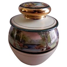 PL Limoges Hand Painted Tobacco Humidor w/Scenic Motif