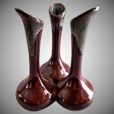 "Van Briggle ""Triple Bud Vases"" - Dark Brown with Blue/Green Over-Glaze"