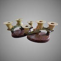 "Roseville Pottery ""Wincraft"" Pair of Triple Socket Candelabra #253"