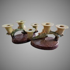 "Roseville Pottery ""Wincraft"" Pair of Triple Socket Candelabra #253"