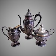 "Meriden Silver Plate ""Art Nouveau"" 3-Piece Tea Set w/Blown-Out Poppy Motif"