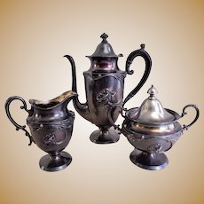"Meriden Silver Plate ""Art Nouveau"" 3-Piece Tea Set w/Blown-Out Poppy Motif"