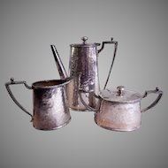 "Van Bergh Silver Plate ""Arts & Crafts"" Hammered 3-Piece Tea Set"