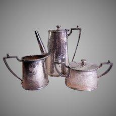 "Van Bergh Silver Plate ""Arts & Crafts"" Hammered 3-Piece Tea Set"