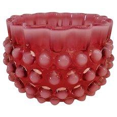 Hobbs Brockunier Cranberry Opalescent Hobnail Bowl