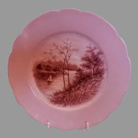 CFH/GDM Limoges H.P. Cabinet Plate w/Scenic Motif - 1 of 4 Plates