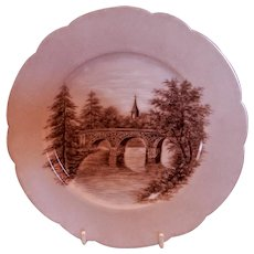 CFH/GDM Limoges H.P. Cabinet Plate w/Scenic Motif - 2 of 4 Plates