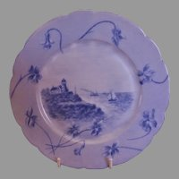 CFH/GDM Limoges H.P. Cabinet Plate w/Scenic Motif - 3 of 4 Plates