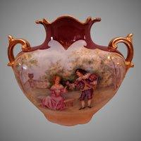 Jean Pouyat (JPL) Limoges Hand Painted Scenic Romantic Motif Vase - Artist Signed