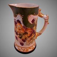 American Willets Belleek Hand-Painted Pitcher w/Blackberries Motif