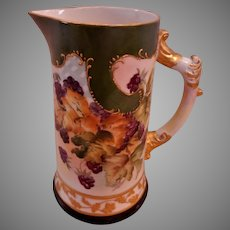 American Willets Belleek Hand-Painted Pitcher w/Blackberries Motif