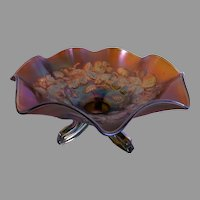 """Northwood Green Carnival """"Blackberry/Daisy & Plume"""" Patterns Tri-Footed Bowl"""
