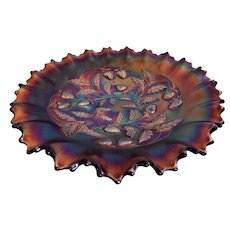 "Northwood Amethyst Carnival ""Strawberry"" Pattern Ruffled Bowl"