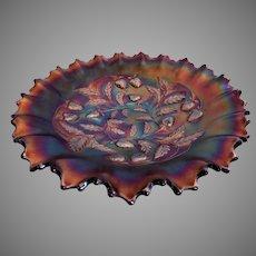"Northwood Amethyst Carnival ""Strawberry"" Pattern Ruffled Bowl"