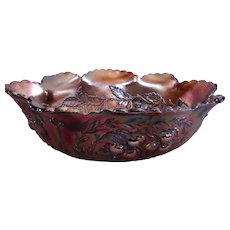 "Dugan/Diamond Amethyst Carnival ""Wreathed Cherry"" Banana/Fruit Bowl"