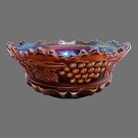 """Northwood Amethyst Carnival """"Grape & Cable w/Thumbprint"""" Pattern Master Berry Bowl"""