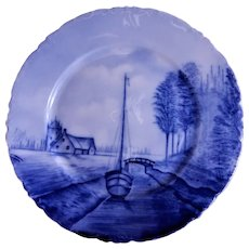 Rosenthal Blue & White Delft Plate w/ Dutch Canal Scene