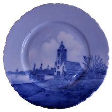 Rosenthal Blue & White Delft Plate w/ Dutch Sea Inlet Scene