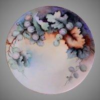 Jean Pouyat (JPL) Limoges Hand Painted Cabinet Plate w/Gooseberry Motif