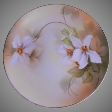 R.S. Germany (Green Mark) Cabinet Plate w/White Clematis Floral Motif
