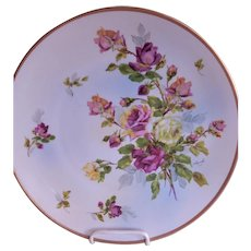 Hertel, Jacob Porcelain Charger Plate w/Multi-Colored Roses Motif