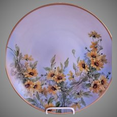 Hertel, Jacob Porcelain Charger Plate w/Black Eyed Susan Blossoms Motif