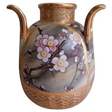 Nippon Hand Painted Vase w/Pink Cherry Blossoms Motif (Morimura Bros)