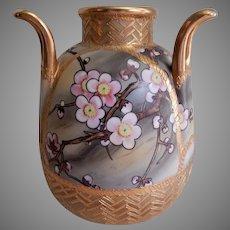 Nippon Hand Painted Vase w/Pink Cherry Blossoms Motif (Morimura Bros)
