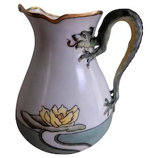 Bavaria Hand Painted Pitcher w/Dragon Handle & Water Lily Motif