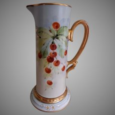 Julius H Brauer Studio H.P. Tankard Pitcher w/Cherries Motif