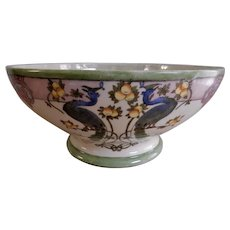 T&V Limoges Hand Painted Console Bowl w/Peacocks & Citrus Art Nouveau Motif