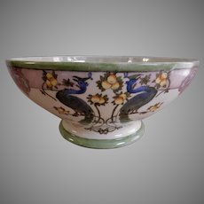 Tressemanes & Vogt Limoges Hand Painted Console Bowl w/Peacocks & Citrus Art Nouveau Motif