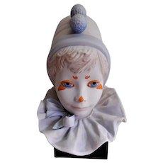 """Cybis Porcelain """"Funny Face"""" Child Clown Face Sculpture"""