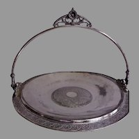 James W Tufts Silver-Plate Aesthetic Floral & Geometric Motif Brides Basket
