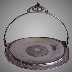 James W Tufts Silver-Plate Aesthetic Floral & Geometric Motif Brides Basket
