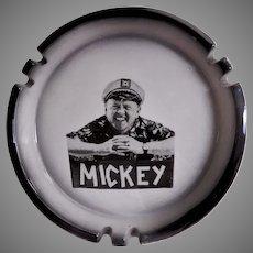 Sascha Brastoff Pottery Ashtray w/Press Photo Imprint of Mickey Rooney