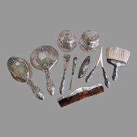 Alvin Sterling Silver Art Nouveau Repousse 10 Piece Dresser sET