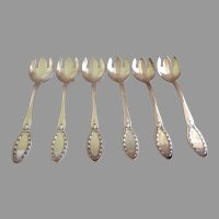 "Alvin Silver Plate ""Diana"" Pattern Ice Cream Forks - Set of 6"