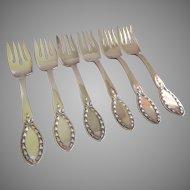 """Alvin Silver Plate """"Diana"""" Pattern Dessert Forks - Set of 6"""