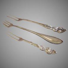 Set of 3 Silver-Plated Pickle/Olive/Seafood Serving Forks