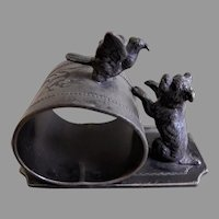 Victorian Silver Plated Figural Napkin Ring w/Dog & Bird