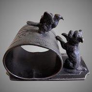 Victorian Silver Plated Figural Napkin Ring w/Dog & Bird
