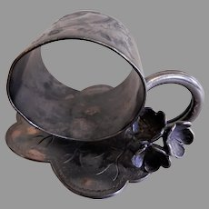 Victorian Silver Plated Figural Napkin Ring w/3 Sculptured Flowers & Leaf Base