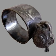 Victorian Silver Plated Figural Napkin Ring w/Chick