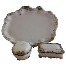 Vintage Decorated White Milk Glass 3-Piece Dresser Set
