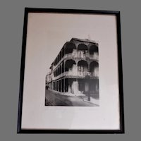 """C Bennette Moore """"Lace Balcony New Orleans"""" Framed Etching"""
