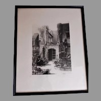 """C Bennette Moore """"Little Theatre Court New Orleans"""" Framed Etching"""