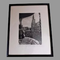 """C Bennette Moore """"Shadows of Old New Orleans"""" Framed Etching"""