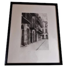 """C Bennette Moore """"Pirate's Alley New Orleans"""" Framed Etching"""