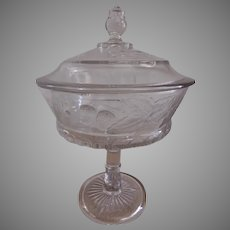 """Dalzell, Gilmore & Leighton EAPG """"Many Fruits"""" Pattern Covered Compote"""